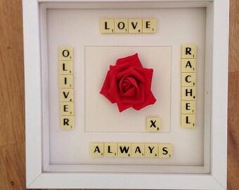 Love Scrabble Box Frame Picture