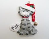 Personalized Striped Cat Christmas Ornament - Personalized Kitty Ornament