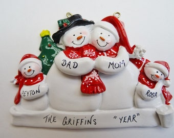 Personalized Snow Family of 4 - Personalized Free -Personalized  Family of 4 Christmas Ornament