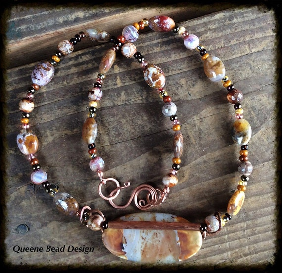 Beautiful Agate and Copper Necklace and Earrings
