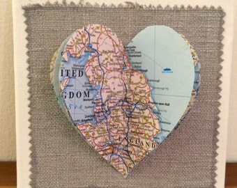3D Map Heart Canvas