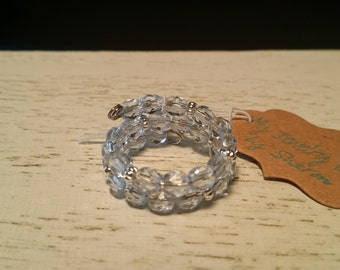 Adjustable Memory Wire Ring with Pale Blue Faceted Crystals