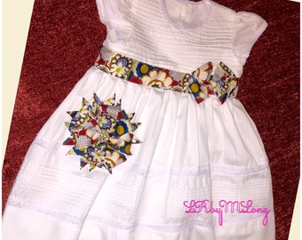 White Dress with Matching Hair Alligator Clips