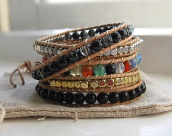 SALE Beaded Wrap Bracelet, Womens Bracelet, Leather Wrap Bracelet