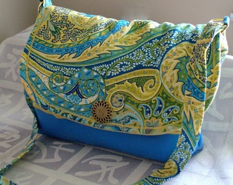 PAISLEY GOLD/with blue/cross body/messenger bag/purse
