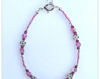 Pink & Silver Child's Anklet