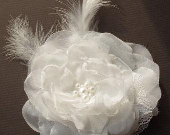 Bridal Flower Headpiece Wedding Hair Accessory Ivory Flower Hair Clip Ivory Hair Piece  Wedding Accessory Bridal Fascinator Bridal Accessory