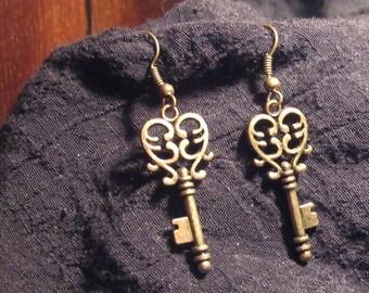 Key Heart Earrings