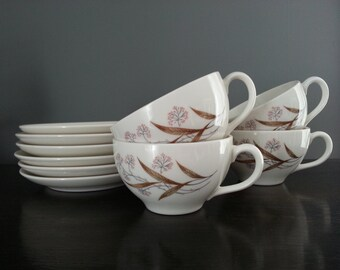Vintage Carefree True China Syracuse Windswept 4 Teacups and 6 Saucers