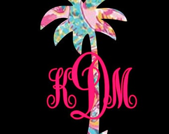 Palm Tree Monogram Decal ~Preppy Prints~ many patterns to choose from!!