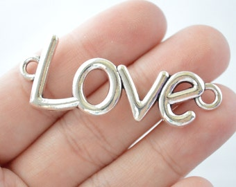 2 Pcs Large Love Connector Love Charms Word Charms Antique Silver Tone 52x21mm - YD0193