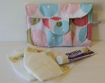 Grab and Go Diaper Clutch Pink and Blue Spirograph