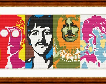 The Beatles - Cross stitch pattern PDF - Instant download