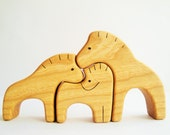 Wooden Puzzle Horse Family Gift for Toddlers Puzzles and Children Animal Puzzle Horse figurine Woodland puzzle Handmade Toy animals
