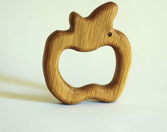 Baby Teething Ring - Natural Wooden Baby Toy - Organic Wooden Teether - Safe Infant Toy - Lovely Apple - Teether for new baby