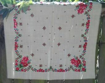 Small white russian scarf, russian shawl, Folk Floral Scarf, Babushka Shawl