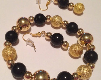 Black and Gold Stardust Bracelet and Earring Set -L63