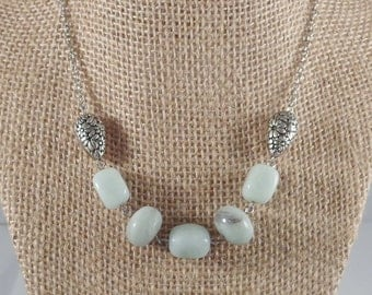 Chunky Amazonite Necklace with Antique Silver Art Nouveau Tear Drop Beads