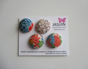 4 buttons made from vintage Japanese silk kimono fabric. Multicolour. 29mm.