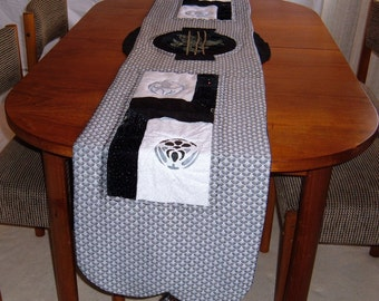 Black and White Oriental Table Runner
