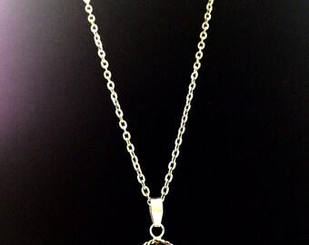 Brown goldstone vintage pendant- silver chain