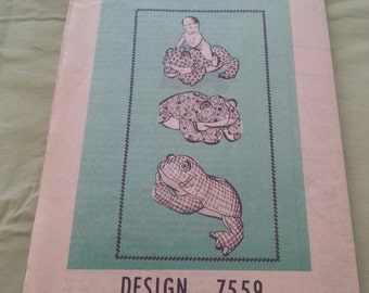 Vintage Mail Order Pattern 7559 Frog TV Hassock/Stuffed Frog Toy/Mascot Unsued/Uncut 1960's