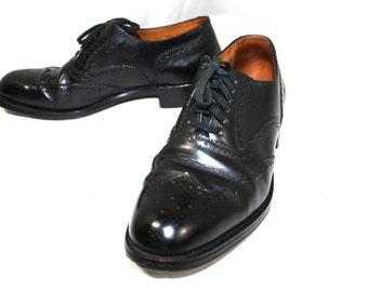 Vintage Mens Shoes Black Wingtip Oxford Dress Cole Haan Black Leather Classic Wingtip Oxford Dress Shoes 8.5