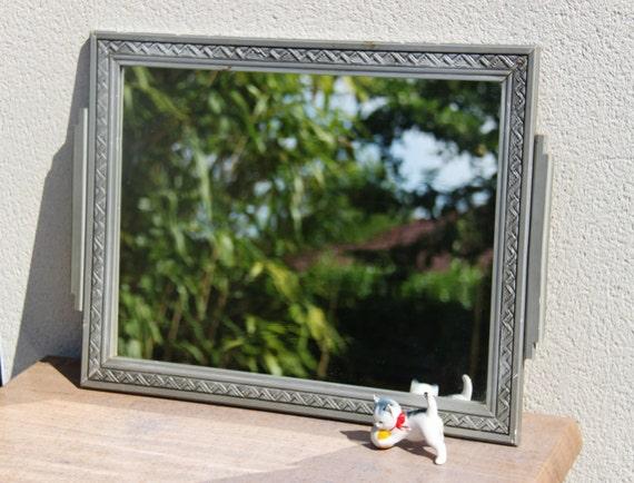 Antique miroir fran ais art d co cadre bois peint argent for Miroir francais