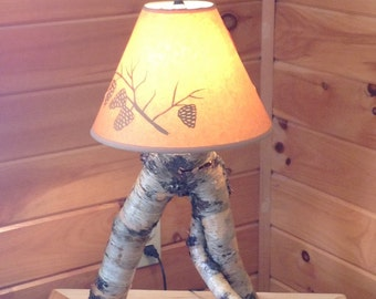 Rustic birch lamp