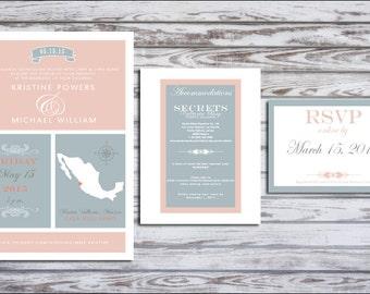 Modern & Rustic Destination Beach Wedding Invite Suite