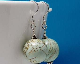 Pale Green Dyed Turquoise Earrings