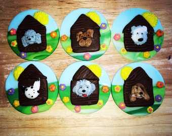 12 pieces  of dog fondant cupcake /cake toppers made from fondant