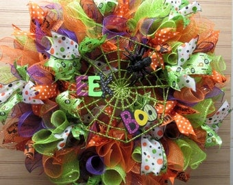 Halloween Sale!  30% OFF, Deco Mesh Halloween Wreath, Halloween Entry Wreath, Front Door Wreath, Halloween Decor