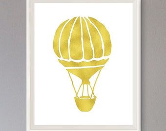 EXTRA 50% OFF Multiple Purchases Instant Download Printable Art Nursery Print Hot Air Balloon Gold Effect