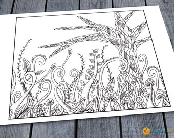 Doodle Tree Adult Colouring Page, Printable Colouring Pages Zen Doodle Art Woodland Tree