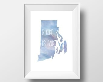 Rhode Island State Blue Watercolor Printable Art, Rhode Island State Print, Rhode Island Art, Modern Art,