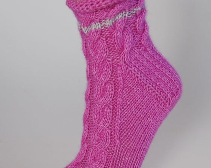 Ladies cerise pink pure cashmere handmade bed socks by Willow Luxury - (to fit ladies shoe sizes UK 4-6, US 6-8, European 37-39)