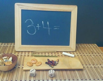 Montessori, Homeschool, Math, Sorting, Fine Motor, Chalk Board, Wooden Buttons, Counting, All natural wooden toys