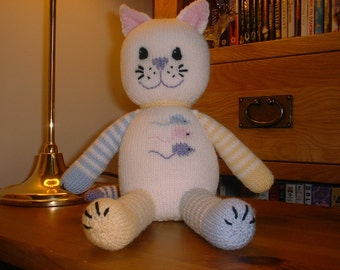 Pdf Knitting Pattern for toy cat with 3 mice motifs by Angela Turner baby