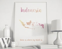 Indonesia art Indonesia map Indonesia print Indonesia wall art Asia print Asia printable Bali island Asia island Pink Peach island map