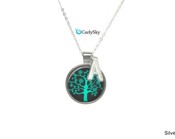 Mint Necklace Green Mint Pendant Tree of Life Mint Necklace Mint Green Pendant Mint Green Necklace Mint Green Jewelry Mint Tree Necklace