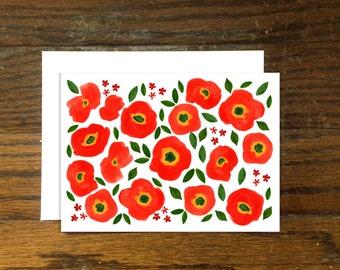 Perky Peony Printed Blank Note Card
