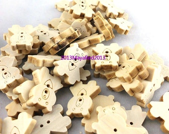 100PC wooden sewing buttons Cute Bear Shaped DIY craft