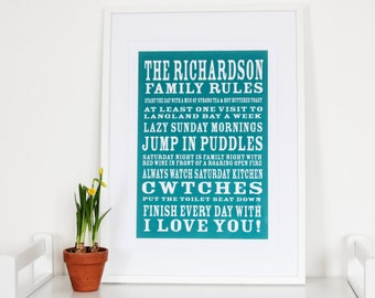 Personalise/Personalize Family Rules Print - Unique wall decor, Customise, Typography, Interior, Wall Art, Sentimental, Humour