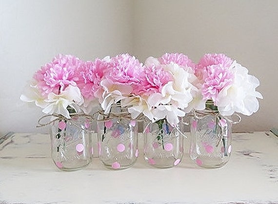Pink polka dot mason jar centerpieces baby shower jars