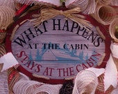 "Burlap Wreath, Burlap Cabin Wreath, Rustic Cabin Decor, Shabby Chic Decor, Front Door Wreath, ""What Happens At The Cabin"""