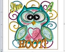 OwL I'M A Hoot 4x4 embroidery design applique.  Machine embroidery design. Owl applique is so cute with Minky fabric or textured fabrics!