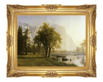 Framed Art El Capitan Yosemite Valley California Albert Bierstadt Painting Reproduction Print on Canvas - Sizes Small to Large - M00464