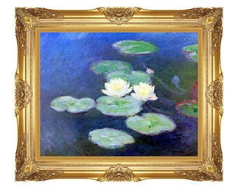 Claude Monet Water Lilies Nympheas, Effet du Soir Framed Print Canvas Wall Art Painting Reproduction - Small to Large Sizes - M00670-671