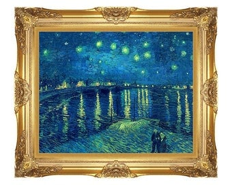 Framed Starry Night over the Rhone River Vincent van Gogh Canvas Wall Art Print Painting Reproduction - Small to Large Sizes - M00162